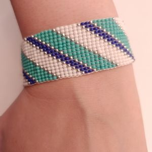 Loom Beaded Teal, White, Navy Blue and Silver Brac
